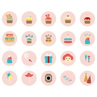 A collection of birthday party items