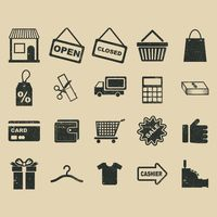 A collection of shopping related icons