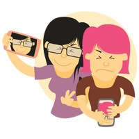 A girl and a boy taking selfie