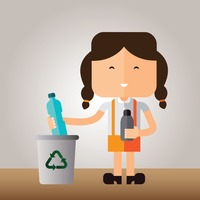 A girl recycling plastic bottles