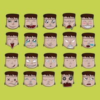 A set of frankenstein emoticon showing various facial expressions