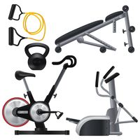 A set of gym equipment