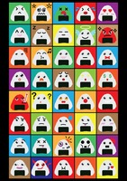 A set of japanese rice balls emoticon showing various facial expressions