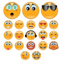 A set of smiley emoticon showing various facial expressions