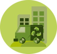 A van with recycle symbol and buildings