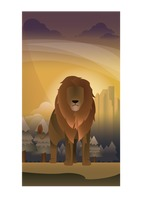 Abstract lion on forest background