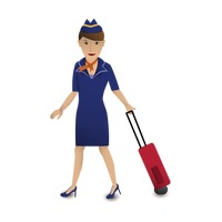 Air hostess with her luggage