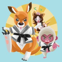 Animals in karate outfit