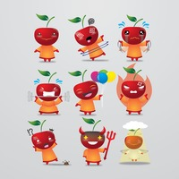 Apple character with different actions