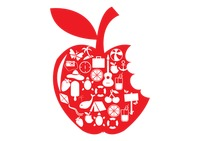 Apple shape with summer icons