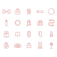 Assorted exercise and zen icon set