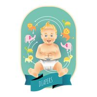 Baby diapers label