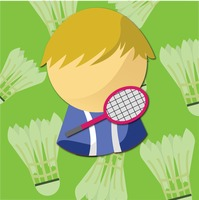 Badminton player in green background