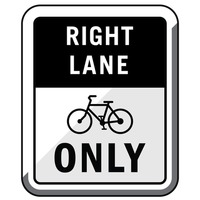 Bike right lane only road sign