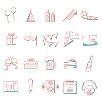 Birthday icons collection