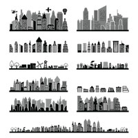 Black and white city skyline collection
