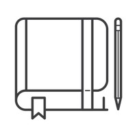 Book with pen icon