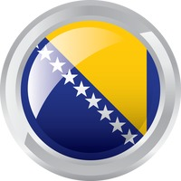 Bosnia and herzegovina flag glossy button