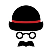 Bowler hat with sunglasses and mustache