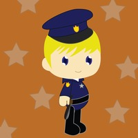 Boy in police officer costume