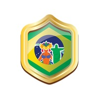 Brazil badge with carnival celebration