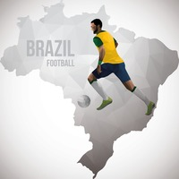 Brazil map with football player