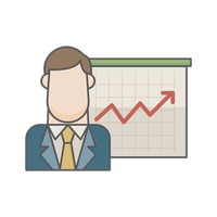 Businessman and graph chart