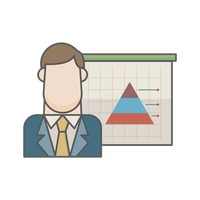 Businessman and pyramid graph