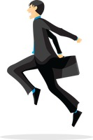 Businessman jumping across