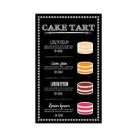 Cake tart menu design