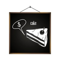 Cake with dollar sign in speech bubble