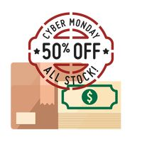 Cardboard box and dollar notes with cyber monday sale stamp