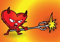 Cartoon devil with a heart shaped body fighting