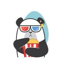 Cartoon panda watching a movie