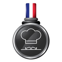 Chef mustache and hat in a medal
