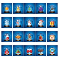 Christmas icons in crystal ball