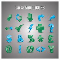 Collection of 3d symbol icons