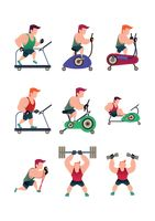 Collection of a muscular man working out