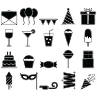 Collection of birthday party icons
