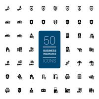Collection of business insurance icons