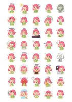 Collection of cartoon girl with expressions