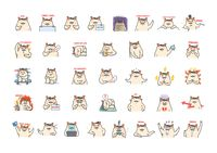 Collection of cartoon hamster expressions