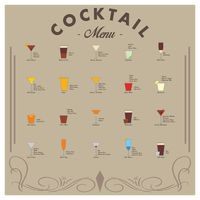 Collection of cocktails menu