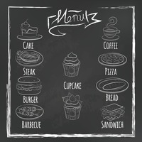 Collection of food menu icons