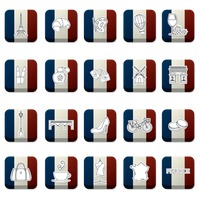 Collection of france icons on france flag
