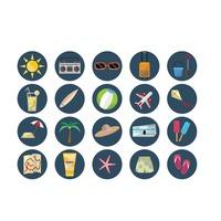 Collection of holiday travel icons