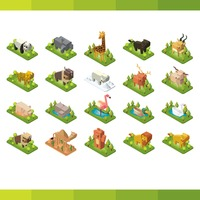 Collection of isometric animals