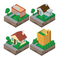 Collection of isometric building