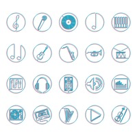 Collection of music icons