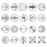 Collection of outline arrow designs